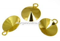 Baza pandantiv argint 925 placat cu aur, rivoli 14mm - x1