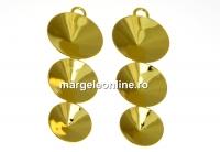 Baza cercei sau pand. 3 rivoli, 10-12-14mm, argint 925 pl. cu aur - x1
