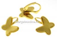 Tortite cercei ag 925 pl. cu aur, cabochon fluture 12mm - x1per