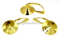 Baza click cercei argint 925 placat cu aur, chaton 13mm - x1per