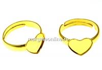 Baza inel argint 925 pl. cu aur, cabochon inima 10mm, reglabil - x1