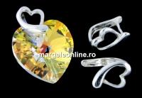 Sistem pandantiv, inima, argint 925 placat cu rodiu, 9.5mm - x1