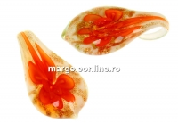 Pandantiv picatura, portocaliu, 32mm - x1