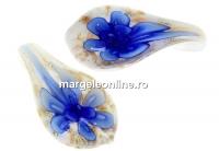 Pandantiv picatura, albastru, 32mm - x1