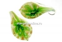 Pandantiv picatura, verde, 32mm - x1