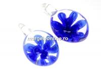 Pandantiv oval albastru, 27mm - x1