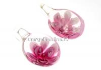 Pandantiv oval roz, 27mm - x1
