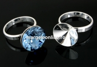 Baza inel argint 925 pl. cu rodiu, chaton 13mm, interior 18.5mm - x1