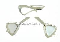 Baza pandantiv argint 925, cabochon Swarovski 4841 cub 6mm - x1