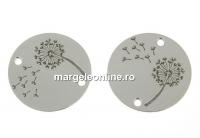 Link banut cu papadie argint 925 placat cu rodiu, 14mm  - x1