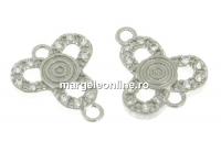Link trifoi cu cristale argint 925 placat cu rodiu, 10mm  - x1