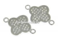 Link trifoi cu cristale argint 925 placat cu rodiu, 18mm  - x1