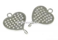 Link inima, argint 925 placat cu rodiu, 14.5mm - x1
