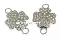 Link trifoi cu cristale argint 925 placat cu rodiu, 15mm  - x1