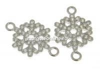 Link fulg de nea cu cristale argint 925 placat cu rodiu, 16.5mm  - x1