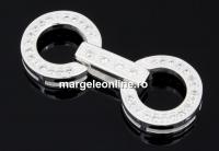 Incuietoare cu cristale, argint 925, 25mm - x1
