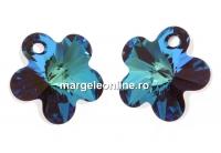 Swarovski, pandantiv floare, bermuda blue, 12mm - x2
