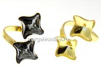 Baza inel romb ag 925 aurit, pt 2 Swarovski 4485 de 10.5mm - x1