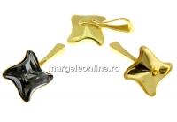 Baza pandantiv ag 925 aurit, patrat, Swarovski 4485 de 10.5mm - x1