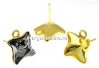 Tortite ag 925 aurit patrat cu za pt Swarovski 4485 de 10.5mm - x1per