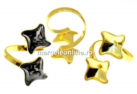 Baza inel romb argint 925 aurit, pt 2 Swarovski 4485 de 10.5mm - x1