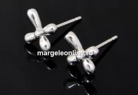 Tortite cercei cruce, argint 925 rodiat, 12.5mm - x1per