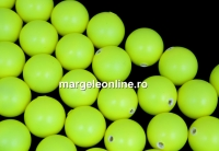 Perle Swarovski cu un orificiu, neon yellow, 12mm - x2