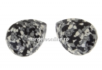 Swarovski, fancy picatura, marbled black, 14x10mm - x1