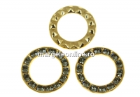 Swarovski, disc placat cu aur, black diamond, 15.5mm - x1