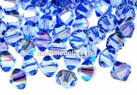 Swarovski, margele bicone, light sapphire shimmer, 6mm - x10