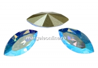 Swarovski navette, fancy chaton, light sapphire shim., 10mm - x4