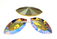 Swarovski navette, fancy chaton, light topaz shim., 15mm - x2