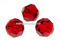 Swarovski, margele, rotund fatetat, scarlet, 10mm - x2
