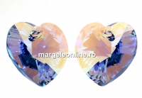 Swarovski, pandantiv inima, light sapphire shimmer, 18mm - x1