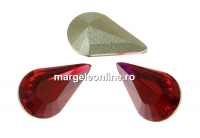 Swarovski, fancy rivoli Pear, scarlet, 6x3.6mm - x4