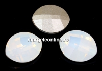 Swarovski, fancy rivoli, pure leaf, white opal, 10mm - x1
