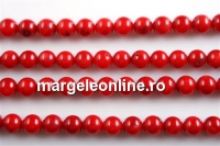 Coral, red, round, 8mm