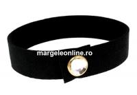 Bratara Alcantara, negru cu Swarovski crystal-auriu - x1