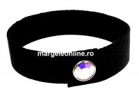 Bratara Alcantara, negru cu Swarovski aurore boreale-rodiat - x1