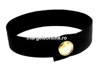 Bratara Alcantara, negru cu Swarovski golden shadow-auriu - x1