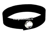 Bratara Alcantara, negru cu Swarovski crystal-rodiat - x1