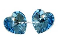 Swarovski, pandantiv inima, aquamarine foiled, 10mm - x2
