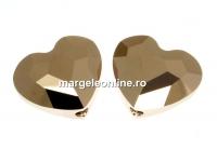 Swarovski, margele inima, rose gold 2x, 12mm - x2
