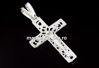 Pandantiv cruce brodata, argint 925, 37mm  - x1