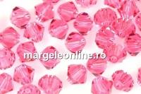 Swarovski, margele bicone, indian pink, 3mm - x20