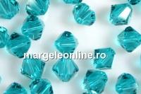 Swarovski, margele bicone, blue zircone, 3mm - x20