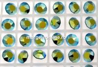 Swarovski, chaton SS29, emerald aurore boreale, 6mm - x4