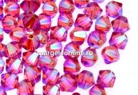 Swarovski, margele bicone, rose AB2x, 4mm - x20