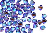 Swarovski, margele bicone, tanzanite AB2x, 4mm - x20