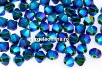 Swarovski, margele bicone, emerald AB2x, 4mm - x20